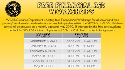 WCHS Free Financial Aid Workshops
