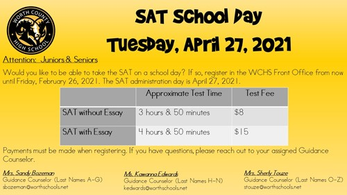 School Day SAT Date Announced