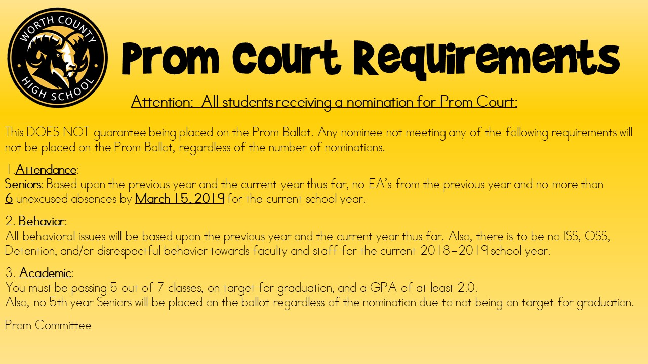 Prom Court Requirements
