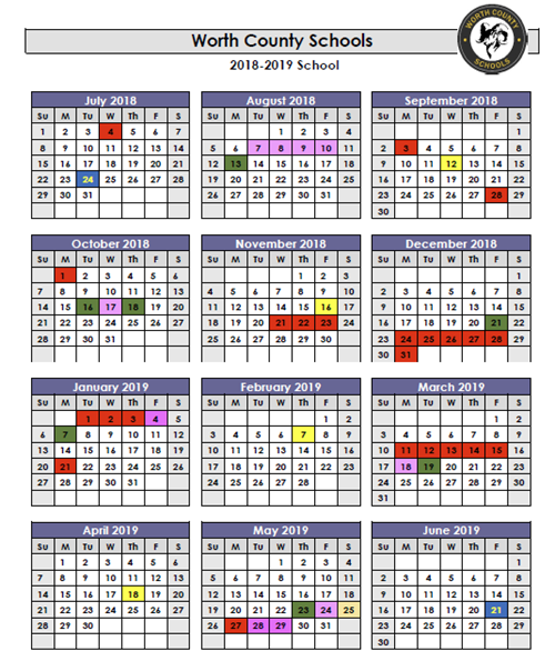 2019 Public School Calendar 2018 2019 WCSS Calendar   Worth County Elementary School