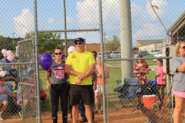Brooke Hall is escorting her father Jim Hall.  He is a survivor of Hodgkins lymphoma. 