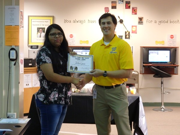 Delia Garza - Academic excellence on the US History AP exam during 2016-17 school year.