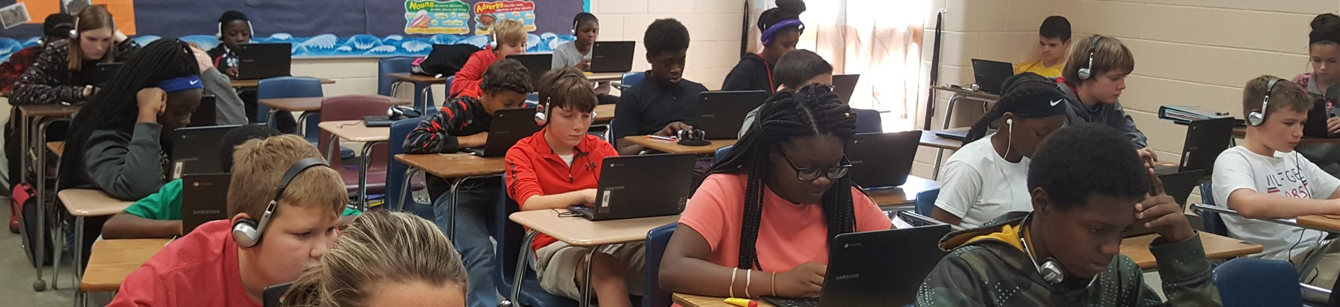 Students using technology in the classroom