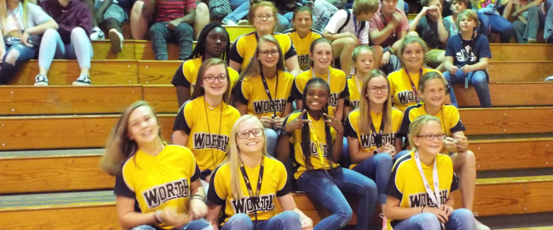 WCMS Softball Team at Pep Rally