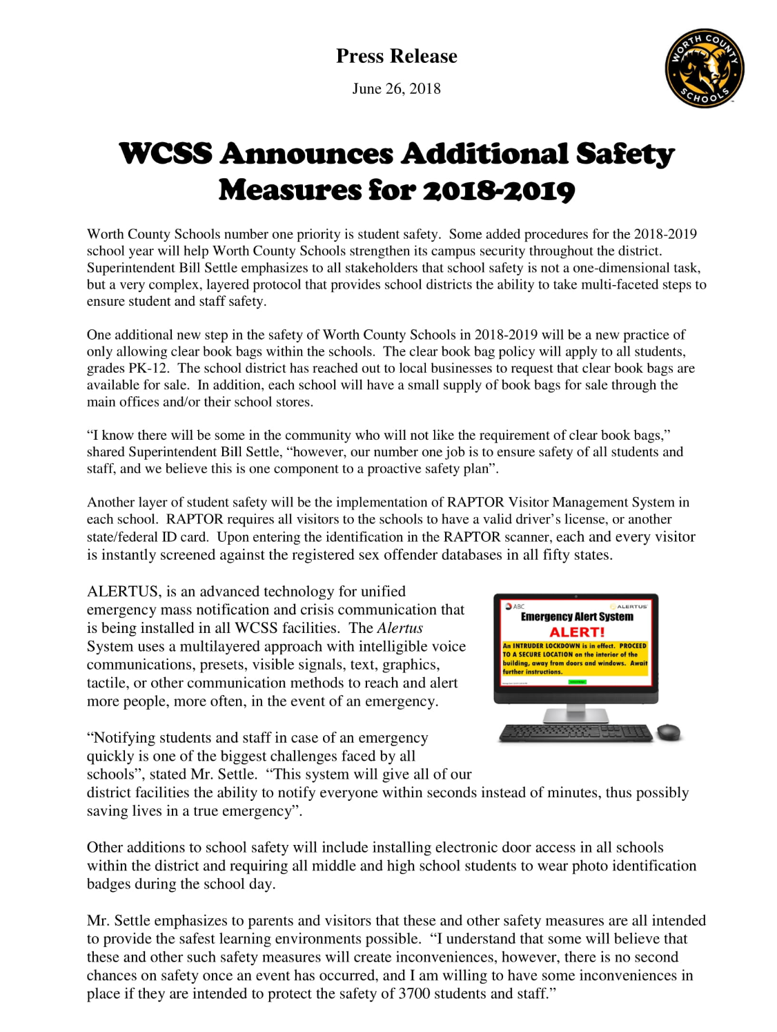 2018-2019 Press Release:  Additional Safety Measures