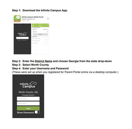 Campus Parent Portal App Usage Steps