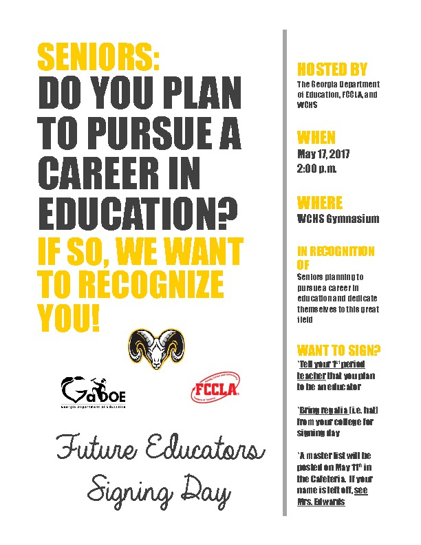 Future Educators Signing Day Flyer