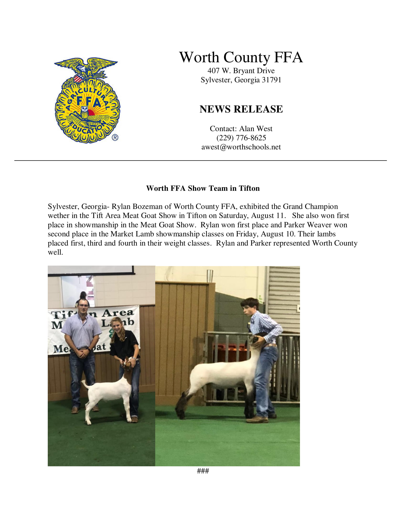 Worth County FFA compete in Tift Area MLMG Show