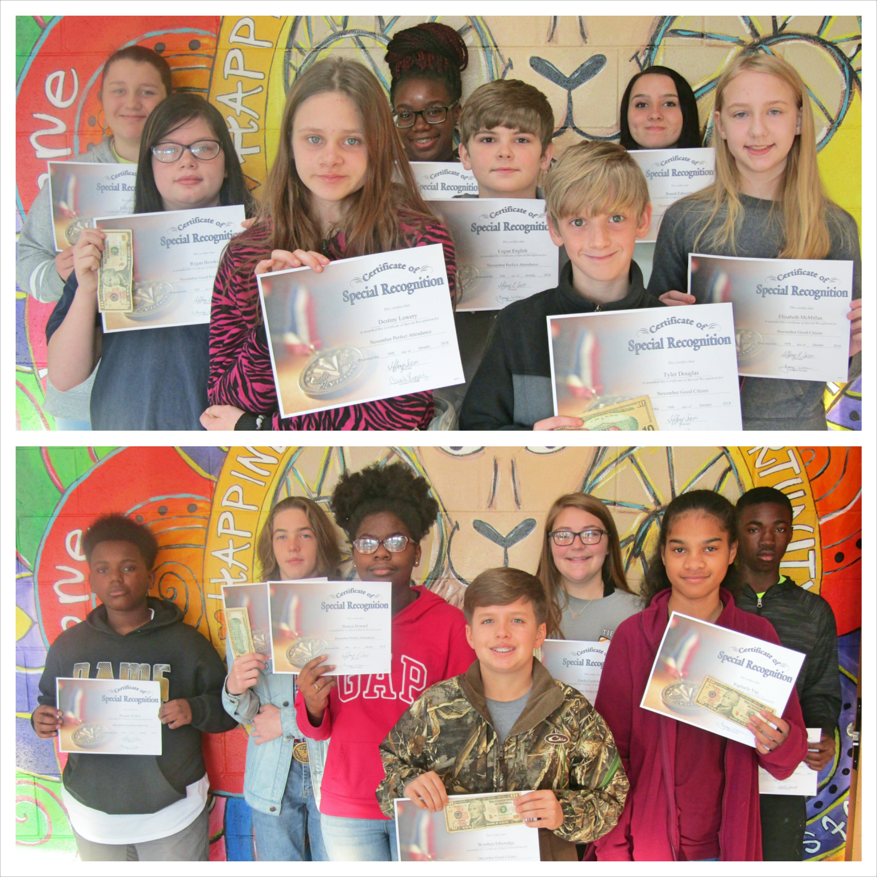 WCMS November and December Students of the Month