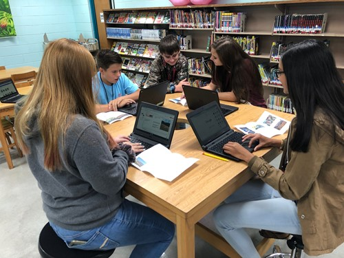 8th Grade students working on social studies brochures