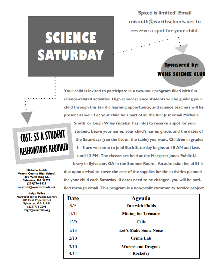 Saturday Science 2017 flyer