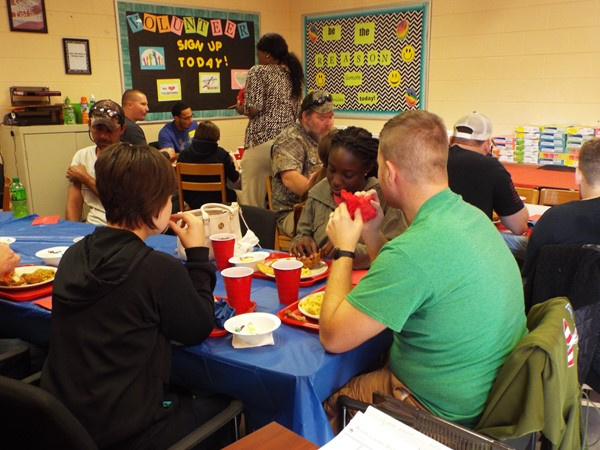 Parents and students enjoyed a delicious meal which included Mrs. Baba's fried chicken.