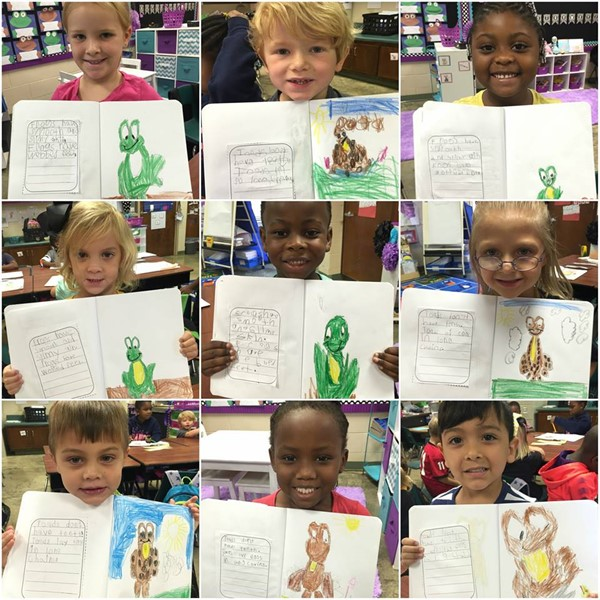 Students document the differences in a frog and toad.