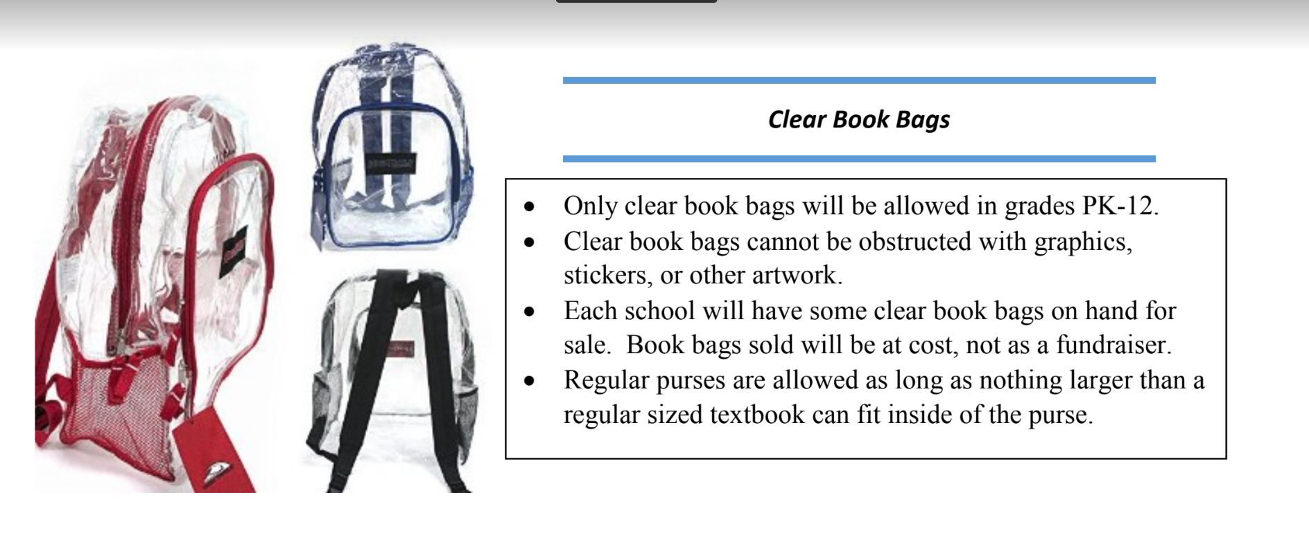 Clear Book Bags 2018-2019