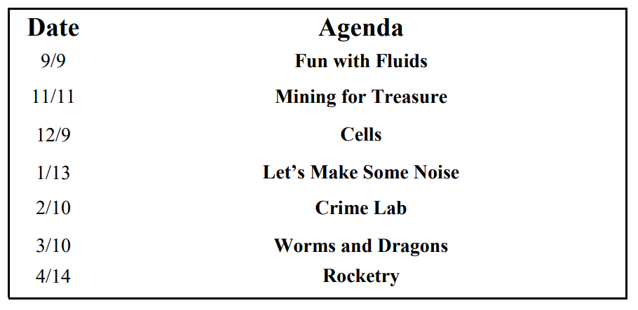 Science Saturday Agenda